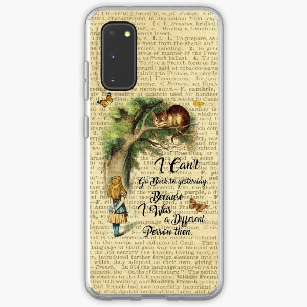 Alice in Wonderland Quote,Cheshire Cat,Vintage Dictionary Art Samsung Galaxy Soft Case