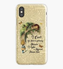 Alice in Wonderland Quote,Cheshire Cat,Vintage Dictionary Art iPhone Case