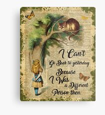 Alice in Wonderland Quote,Cheshire Cat,Vintage Dictionary Art Metal Print