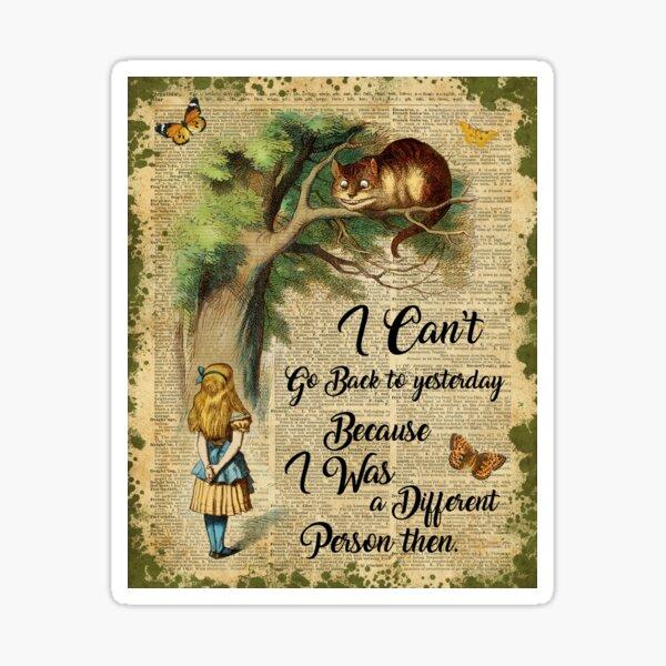 Alice in Wonderland Quote,Cheshire Cat,Vintage Dictionary Art Sticker