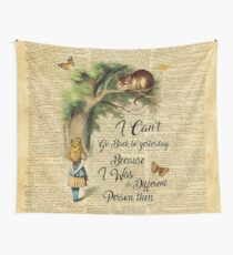 Alice in Wonderland Quote,Cheshire Cat,Vintage Dictionary Art Wall Tapestry
