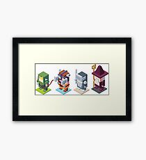 game characters, video game characters, game elf, game barbarian, game knight, game wizard, isometric game Framed Print