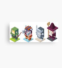 game characters, video game characters, game elf, game barbarian, game knight, game wizard, isometric game Canvas Print