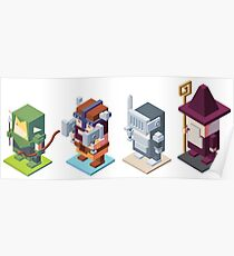 game characters, video game characters, game elf, game barbarian, game knight, game wizard, isometric game Poster