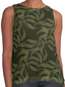 Simply Feathers In Olive Green Contrast Tank