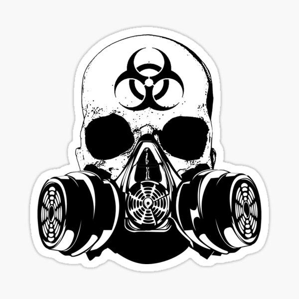 Bio Hazard Decal Hazmat Response Team Gas Mask Skull Emergency Responder Small