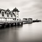 Three Minutes At Penarth Pier Mono by Steve Purnell