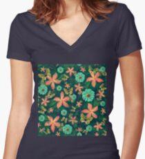 Secret garden Women's Fitted V-Neck T-Shirt