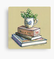 Tea, grapes and a good book Canvas Print