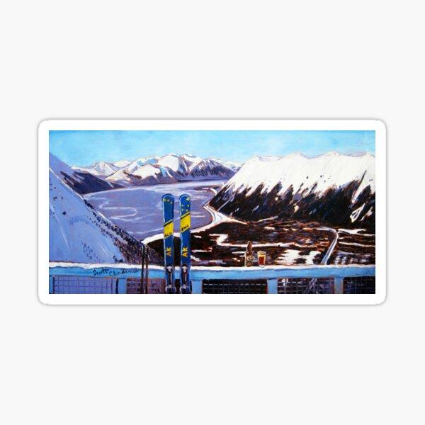 Alaska Skiing Shirt, Downhill Skis, Gift for Skier, Girdwood, Mt. Alyeska, Gift for Alaskan, Skiing Art, Skis Art Sticker