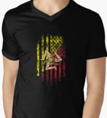 Sicily and America Flag Combo Distressed Design Men's V-Neck T-Shirt