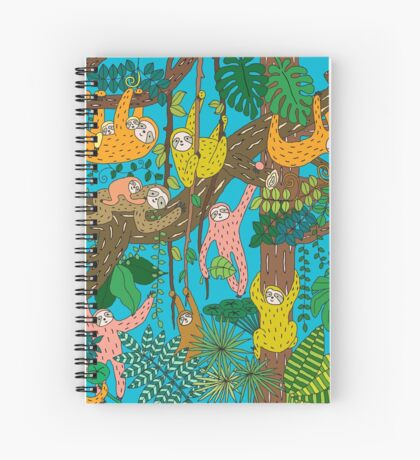Happy Sloths Jungle  Spiral Notebook