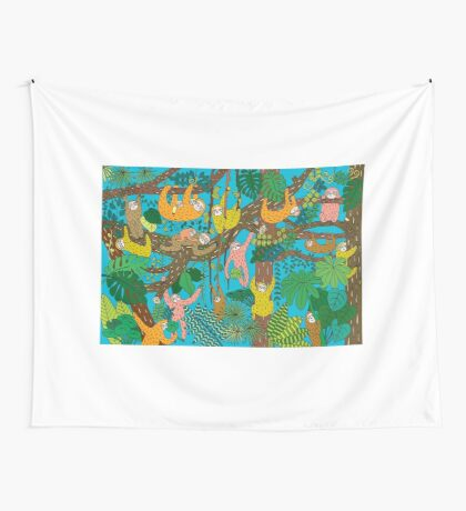 Happy Sloths Jungle  Wall Tapestry