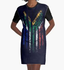 South Africa and America Flag Combo Distressed Design Graphic T-Shirt Dress