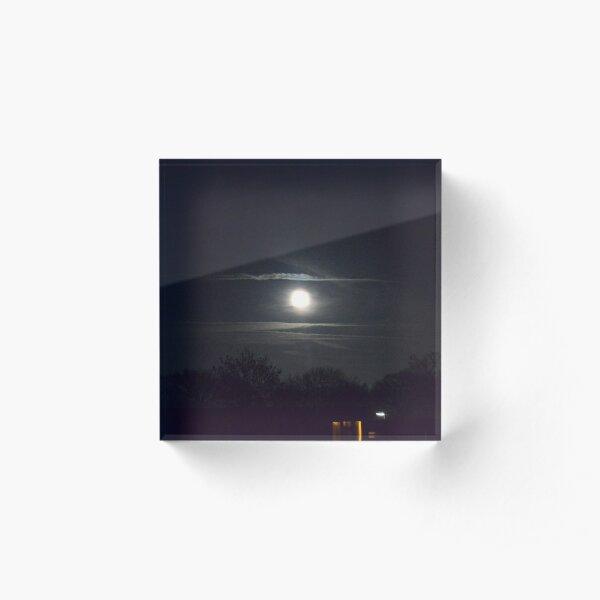 Cloudy Moon Over Town Acrylic Block