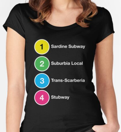 TTC Parody Line Names Women's Fitted Scoop T-Shirt
