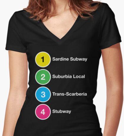 TTC Parody Line Names Women's Fitted V-Neck T-Shirt