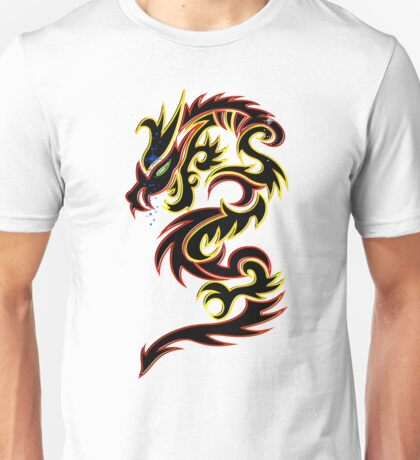 Black Fire Dragon Design T-Shirt