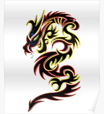 Black Fire Dragon Design Poster