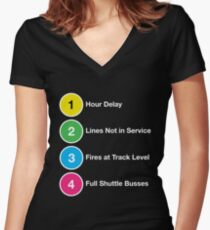 Line Delays Women's Fitted V-Neck T-Shirt