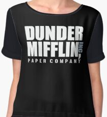 Dunder Mifflin The Office Funny Typography Text Logo Shirts Chiffon Top