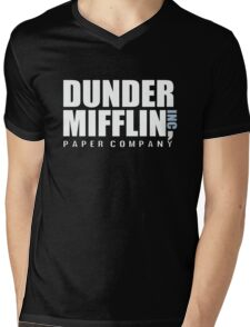 Dunder Mifflin The Office Funny Typography Text Logo Shirts Mens V-Neck T-Shirt