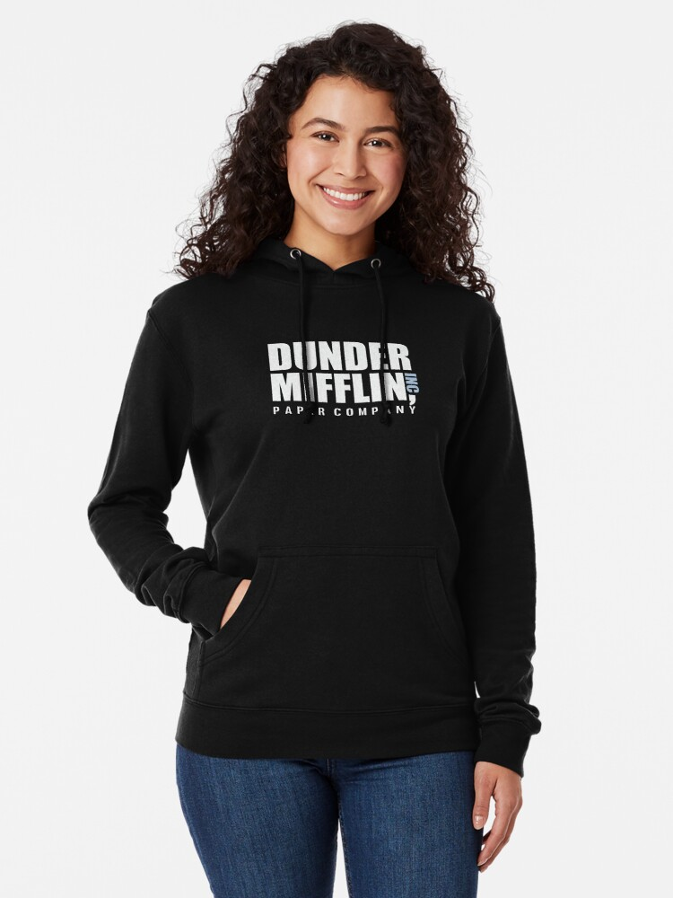 Alternate view of Dunder Mifflin The Office Funny Typography Text Logo Shirts Lightweight Hoodie