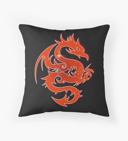 Burnt Orange Red Dragon Throw Pillow