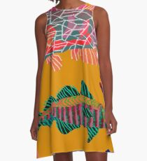 Colorful Abstract Fish Art Drawstring Bag in Yellow and Black  A-Line Dress