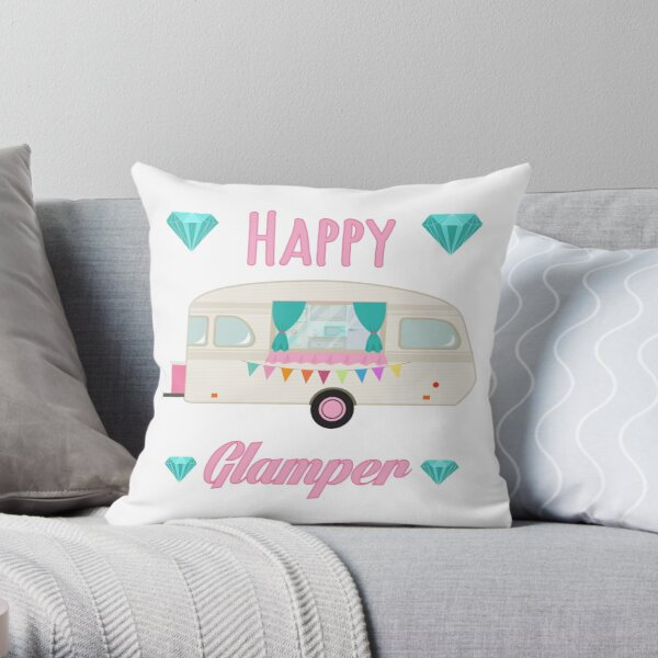 Happy Glamper - Pink Glam Camper Trailer RV Camping  Throw Pillow