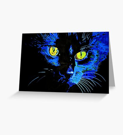 Marley The Cat Portrait With Striking Yellow Eyes Greeting Card