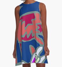 Colorful Abstract Art Throw Pillow in Blue, Pink and Orange A-Line Dress