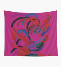 Abstract Rooster Art Throw Pillow in Hot Pink Wall Tapestry