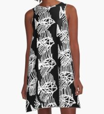 Black and White Abstract Fish Art Tote Bag A-Line Dress