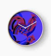 Rooster Abstract Art Blue iPad Cover Clock