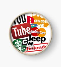 Logo Sticker Mashup Collage  Clock