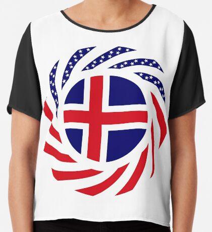 Icelandic American Multinational Patriot Flag Series Chiffon Top