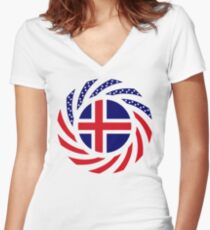 Icelandic American Multinational Patriot Flag Series Fitted V-Neck T-Shirt