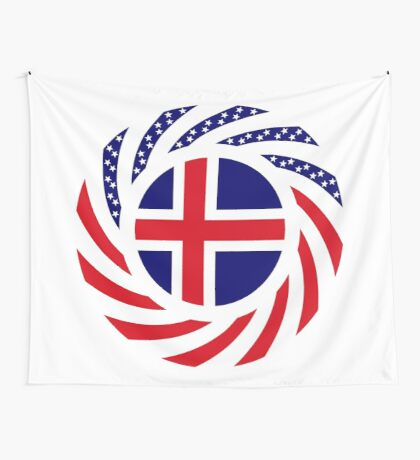 Icelandic American Multinational Patriot Flag Series Wall Tapestry
