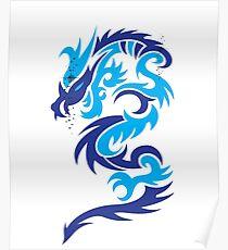Blue dragon design  Poster