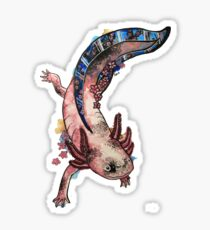 Cherry Blossom Axolotl Watercolour Splash Sticker