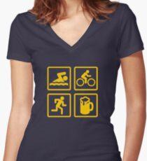TRIATHLON FUN Women's Fitted V-Neck T-Shirt