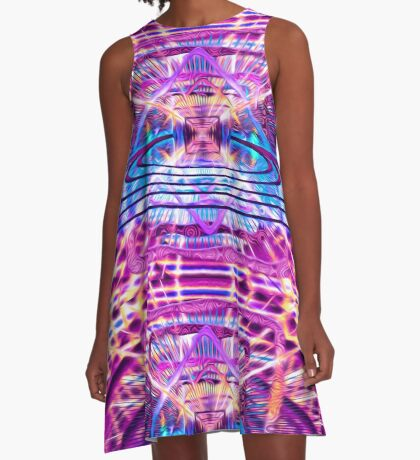 Rave Vision Synesthesia - Psychedelic Geometric Art  A-Line Dress