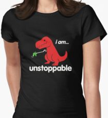 I Am Unstoppable Funny T-Rex Dinosaur Womens Fitted T-Shirt