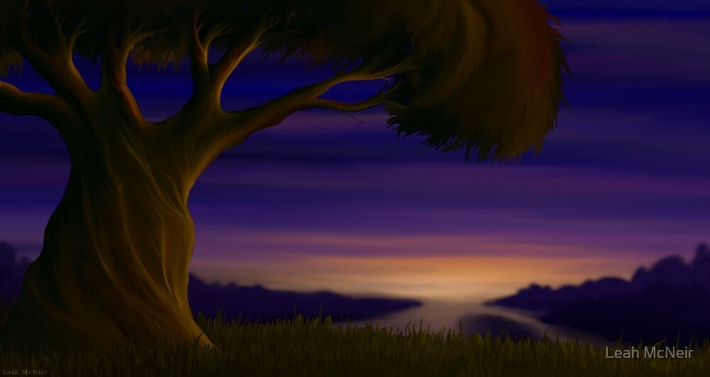 Fantasy Tree at Twilight - Landscape Digital Painting by Leah McNeir