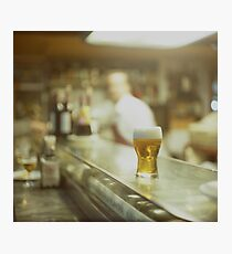 Glass of beer in Spanish tapas bar square Hasselblad medium format  c41 color film analogue photograph Photographic Print