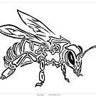 """Bee Spirit"" - Surreal abstract tribal bee totem animal by Leah McNeir"