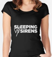 Sleeping With Sirens White Logo Women's Fitted Scoop T-Shirt
