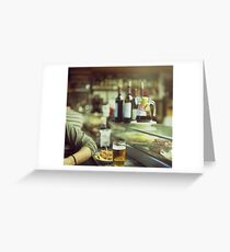 Man tapas and glass of beer in Spanish bar square Hasselblad medium format  c41 color film analogue photo Greeting Card