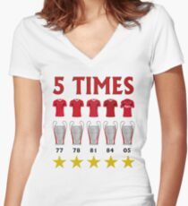 5 Times - Liverpool European Cup Winners Women's Fitted V-Neck T-Shirt